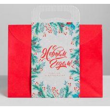 """Пакет подарочный """"С Новым годом! Счастья и волшебства"""", 23*18*10 см."""