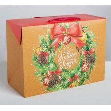 "Пакет-коробка ""С Новым годом"", крафт 28*20*13 см."
