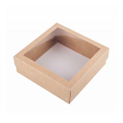 Коробка для зефира с окном крафт 15*15*5 см.