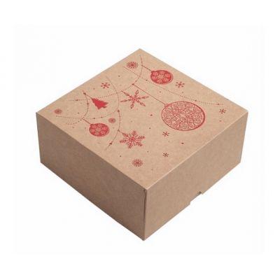 Коробка для 4 капкейков, пряников и других сладостей Новогодняя крафт с красным