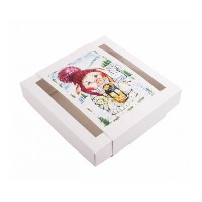 Коробка для пряников новогодняя белая с обечайкой Свинка