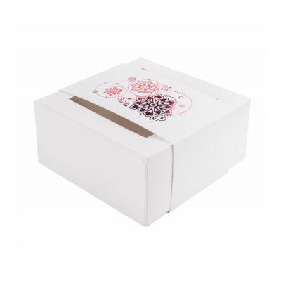Коробка для 4 капкейков, пряников и других сладостей Новогодняя с обечайкой белая с красным