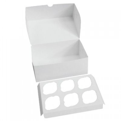 Коробка для 6 капкейков ПРЕМИУМ белая без окна