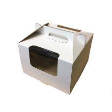 Коробка для торта 30,5*30,5*20,5 с окнами и ручками (белая)