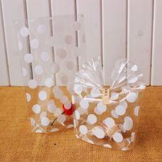 Пакетик для сладостей Белый горошек 13*21, 10 шт.