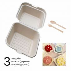 Комплект для бенто-торта: 3 коробки 15,4*15,2*8,8 см, 3 деревянные ложки и вилки