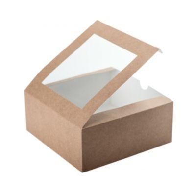 Коробка для 4 капкейков крафт с окном