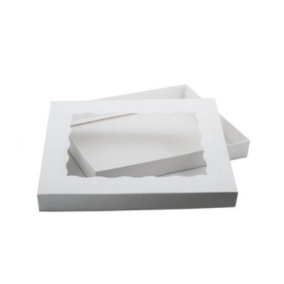 Коробка для пряников с фигурным окном белая, 25*20*3 см