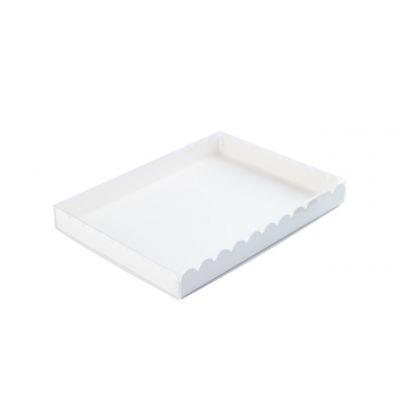 Коробка для пряников с прозрачной крышкой белая, 21*15*2,5 см.