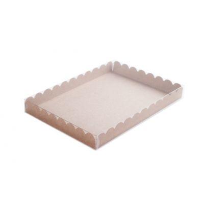 Коробка для пряников с прозрачной крышкой крафт, 21*15*2,5 см.
