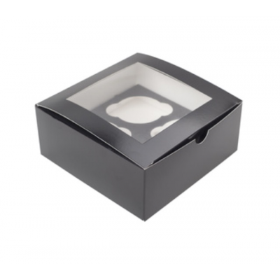Коробка для 4 капкейков ПРЕМИУМ черная с окном