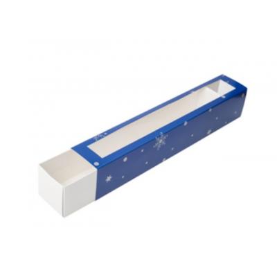 Коробка для макаронс новогодняя синяя