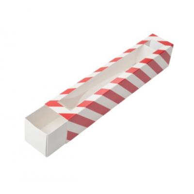 Коробка для макаронс новогодняя красная