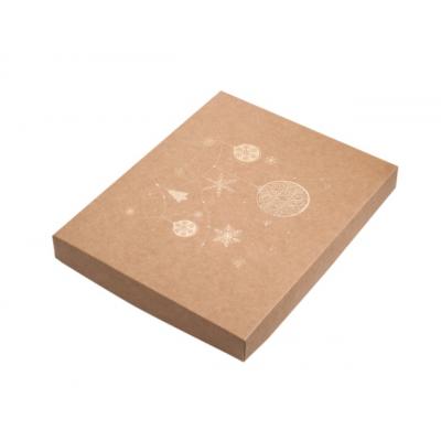Коробка для пряников новогодняя крафт с золотом, 25*20*3 см.