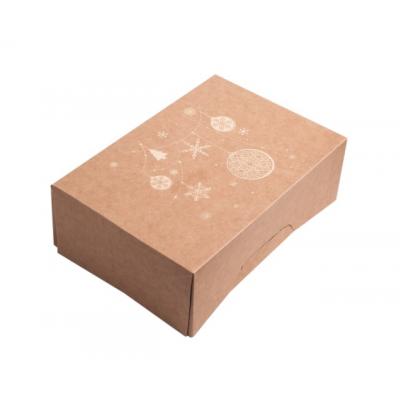 Коробка для 6 капкейков новогодняя крафт с золотом