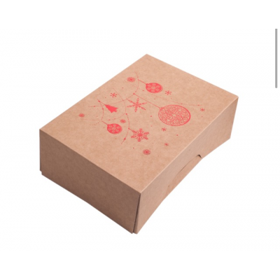 Коробка для 6 капкейков новогодняя крафт с красным