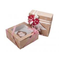 Коробка для зефира с окном новогодняя