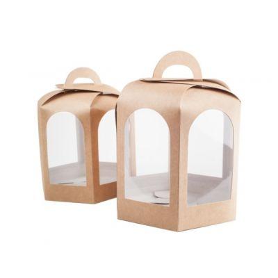 Коробка для пряничного домика и кулича крафт 13*13*13 см.
