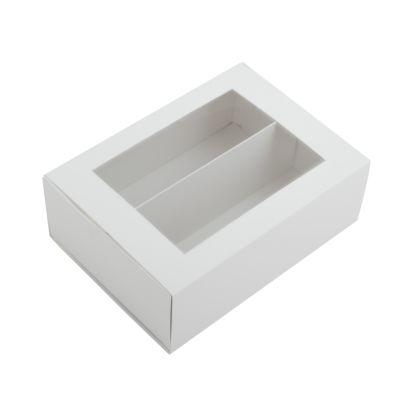Коробка для макаронс с окном белая для 10 - 12 шт.