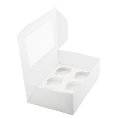 Коробка для 6 капкейков белая с окном