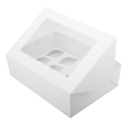 Коробка для 12 капкейков ПРЕМИУМ белая с окном