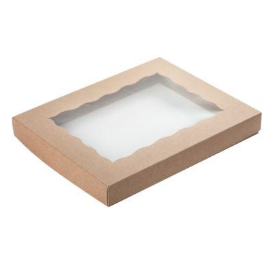 Коробка для пряников с фигурным окном крафт, 25*20*3 см.