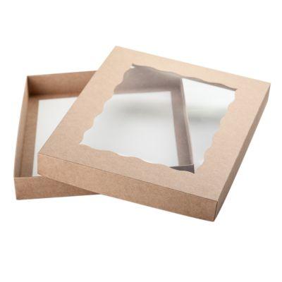 Коробка для пряников с фигурным окном крафт, 15*15*3 см.