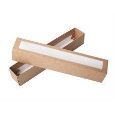 Коробка для макаронс с окном крафт длинная для 10 - 12 шт.