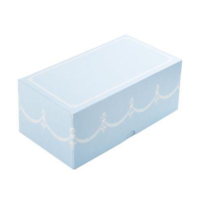 Коробка для 2 капкейков ПРЕМИУМ голубая без окна