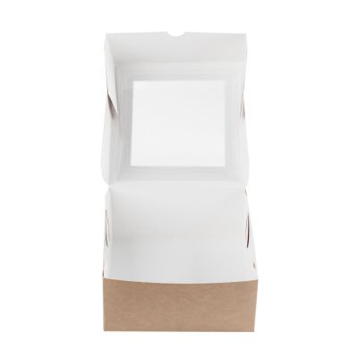 Коробка для зефира с окном крафт