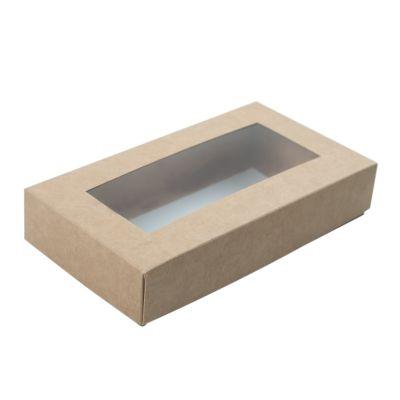 Коробка для пряников с окном крафт, 15*8*3 см.