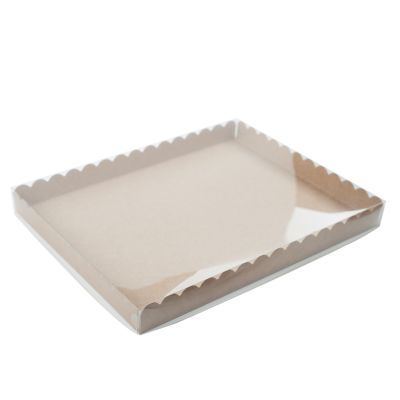 Коробка для пряников с прозрачной крышкой крафт, 30*23,5*3 см.