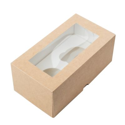 Коробка для 2 капкейков ПРЕМИУМ крафт с окном
