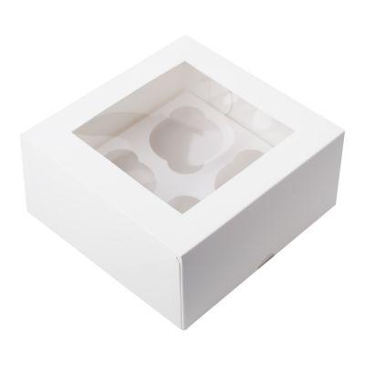 Коробка для 4 капкейков ПРЕМИУМ белая с окном