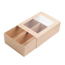 Коробка для макаронс с окном крафт для 10 - 12 шт.