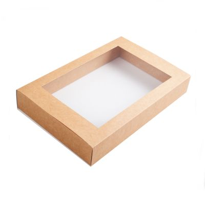 Коробка для эклеров с окном крафт
