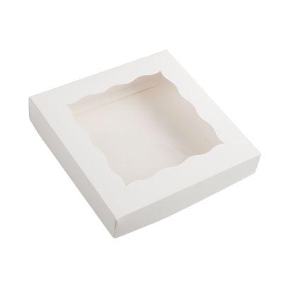Коробка для пряников с фигурным окном белая, 15*15*3 см