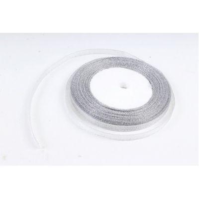 Лента тканная 0,7 см.*25 м., Серебро