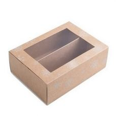 Коробка для макаронс с окном новогодняя крафт для 10 - 12 шт.
