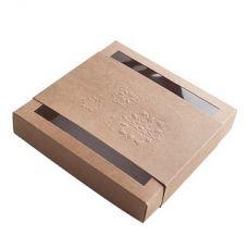 Коробка для пряников новогодняя с обечайкой крафт