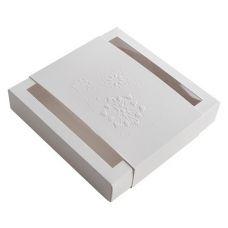 Коробка для пряников новогодняя с обечайкой белая