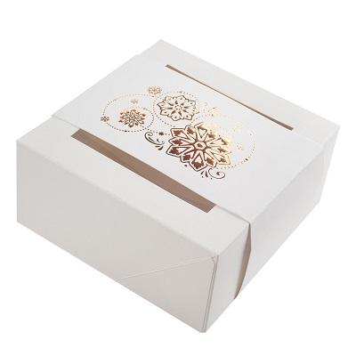 Коробка для пряников новогодняя с обечайкой белая с золотом