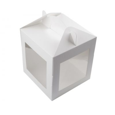 Коробка для пряничного домика и кулича белая 20*20*22 см.