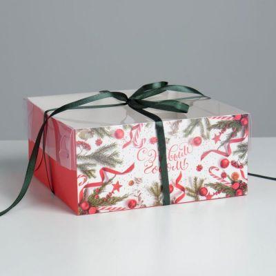 """Коробка для 4 капкейков """"С Новым годом"""", 16*16*7,5 см"""