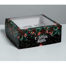 """Коробка для 9 капкейков """"С Новым годом"""" черная с окном"""