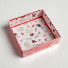 Коробка для кондитерских изделий С новым счастьем, 12*12*3 см.