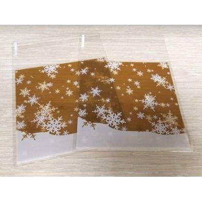 Пакетик для сладостей Снежинки на золотом фоне 10*10, 10 шт.