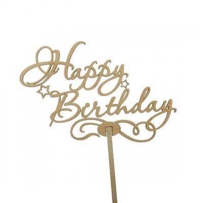 """Топпер для торта """"Happy Birthday"""", натуральный"""