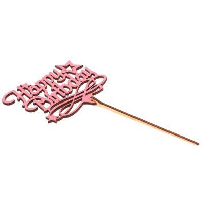 """Топпер для торта """"Happy Birthday"""", розовый"""