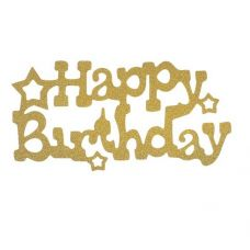 "Топпер для торта ""Happy Birthday"" со звездами, золото"